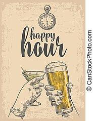hora, cartel, vidrio, vendimia, invitación, aislado, ilustración, dos, beige, fondo., cerveza, vector, tela, manos, grabado, dibujado, tintinee, cocktails., fiesta., feliz