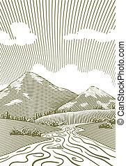 hora, dřevoryt, potok