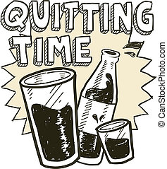 hora de saída, álcool, esboço