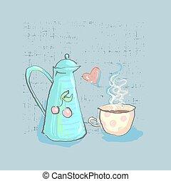 hora del té, lindo, infantil, tetera y taza, con, corazón, en, grunge, plano de fondo, mano, dibujado, directamente, en, vector