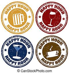 hora feliz, conjunto, sellos