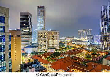 hora, hdb, edificio, iluminado, céntrico, contornos, complejo, singapur, azul