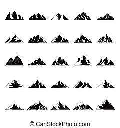 hora, ikona, dát, jednoduchý, móda