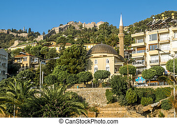 hora, mešita, názor, pevnost, alanya, turecko, starobylý