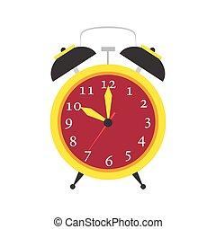 hora, relógio, isolated., alarme, objeto, relógio, cima,...
