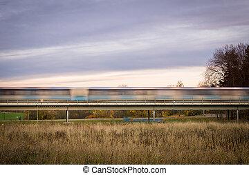 hora rush, trem metrô, borrão moção