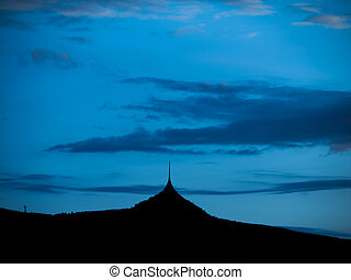 hora, večer, silueta, jested