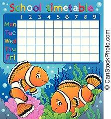 horaire, école, clownfish, thème