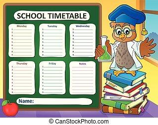 horaire, école, gabarit, 7, hebdomadaire