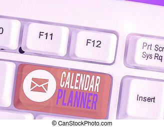 horaire, completed., showcasing, projection, calendrier, activités, note, tâche, business, devoir, planner., photo, être, écriture, ou