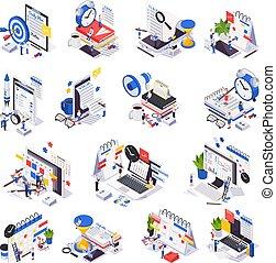 horaire, ensemble, gestion, icône, temps, planification, isométrique