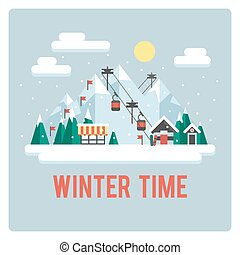 horaire hiver, recours, ski, jour, montagnes
