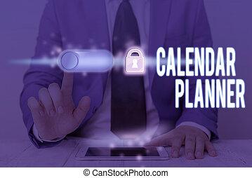 horaire, ou, completed., tâche, concept, texte, écriture, être, écriture, signification, activités, calendrier, planner., devoir