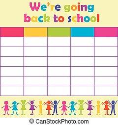 horaire, stylisé, gosses école