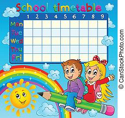 horaire, thématique, école, 2, image