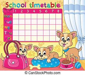 horaire, thématique, école, 5, image