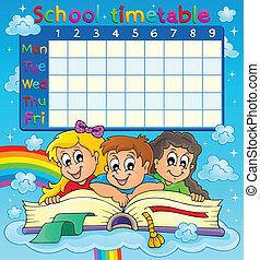 horaire, thématique, école, image, 7