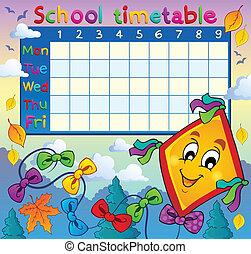 horaire, thématique, école, image, 8