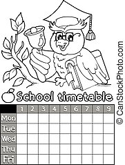 horaire, topic, livre coloration, 4