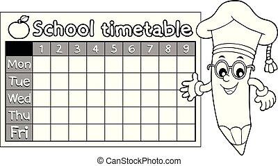 horaire, topic, livre coloration, 7