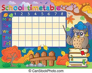 horario, 1, escuela, composición