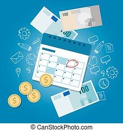 horario, dinero, pago, día de paga, fecha tope, calendario,...