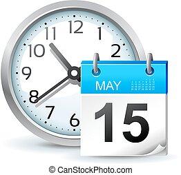 horario, vector, oficina, ilustración, icono