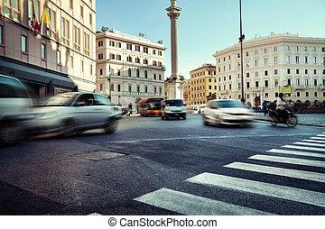 horas, ciudad, prisa, tráfico, durante