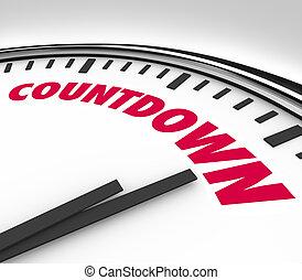 horas, cuenta atrás, reloj, abajo, contar, minutos, final