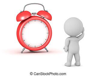 horas, no, carácter, 3d, reloj