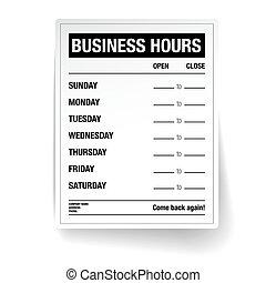 horas, vector, empresa / negocio, plantilla