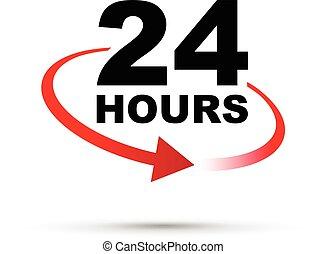 horas, vinte, ao redor, quatro, relógio