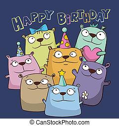 hordoz, furcsa, születésnap kártya