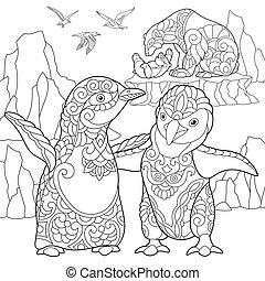 hordoz, poláris, stilizált, pingvin, zentangle