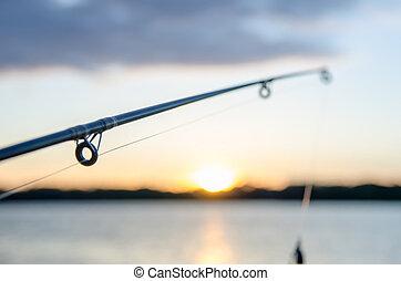 horgászbot, noha, csábít, -ban, napnyugta, felett, egy, tó