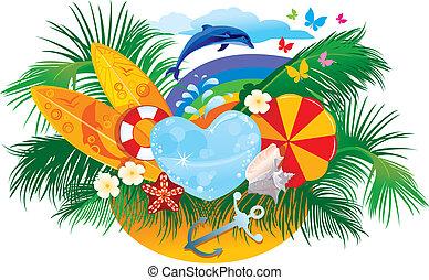 horgonykapák, háttér, nyár, nap