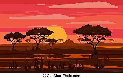horison, outdoor., ベクトル, 予備, 薮, 日没, サバンナ, 公園, スタイル, オレンジ, 国民, アフリカ, sun., 木, イラスト, 漫画, シルエット, 隔離された, 風景, 草