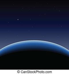 horisont, i, blå planet, jord