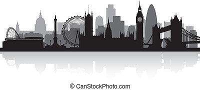horisont, london, stad, silhuett