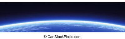 horisont, och, värld, baner