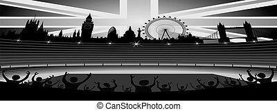horisont, vektor, london, stadion