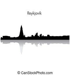 horisont, vektor, reykjavik, silhouette.