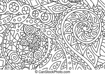 Horisontal coloring book art with abstract pattern