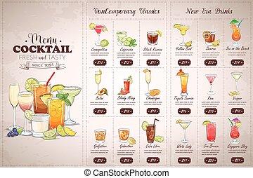 horisontal, dessin, devant, menu, cocktail