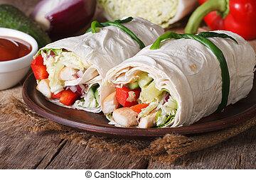 horisontal, grönsaken, burrito, höna