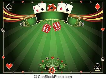 horisontal, kasino, grön fond