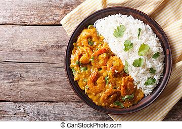 horisontal, ovanför, ris, synhåll, räkan, curry, tallrik.