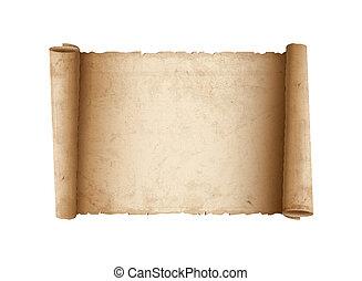 horisontal, papper, gammal, rulla