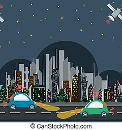 Horisontal seamless pattern with autonomous cars in the city at night time