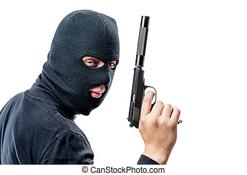 horisontal, stående, av, a, terrorist, med, a, gevär, med, a, ljuddämpare, på, a, vit fond